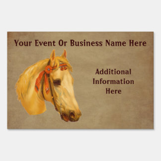 Vintage Art Horse Business Or Event Lawn Sign