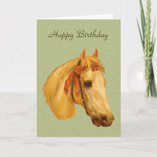 Vintage Art Horse Head Drawing Birthday Card Zazzle