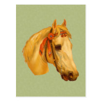 Vintage Art Horse Head Drawing Postcard