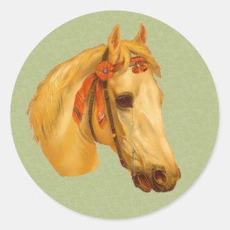 Vintage Art Horse Head Drawing Sticker