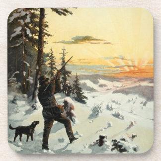 Vintage Art Hunting Dog Gun Winter Drink Coasters