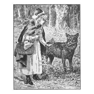 Vintage Art Illustration black White Riding Hood Wood Print