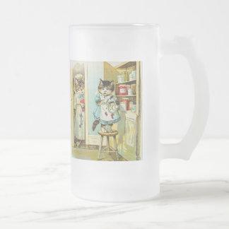 Vintage art: Kitten caught stealing Frosted Glass Beer Mug