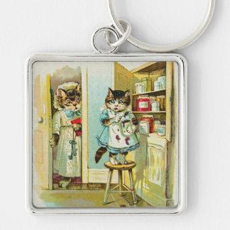 Vintage art: Kitten caught stealing Keychain