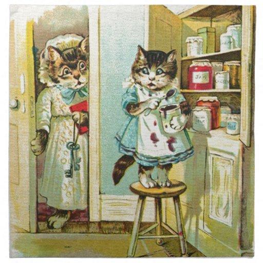 Vintage art: Kitten caught stealing Printed Napkins