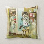 Vintage art: Kitten caught stealing Pillow