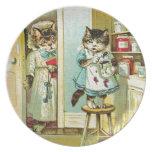 Vintage art: Kitten caught stealing Plate