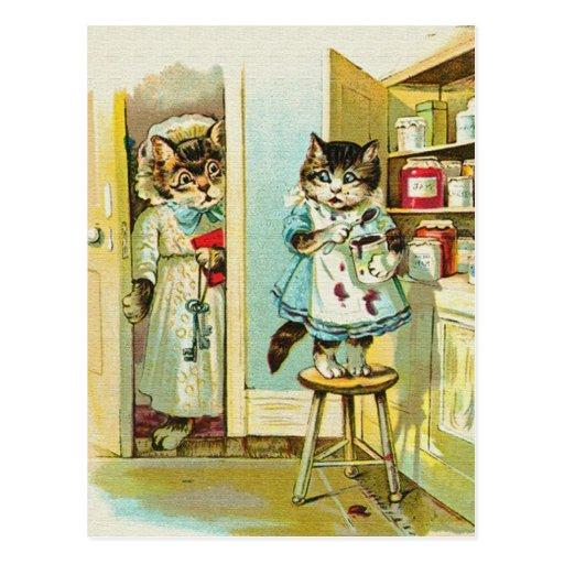 Vintage art: Kitten caught stealing Post Card