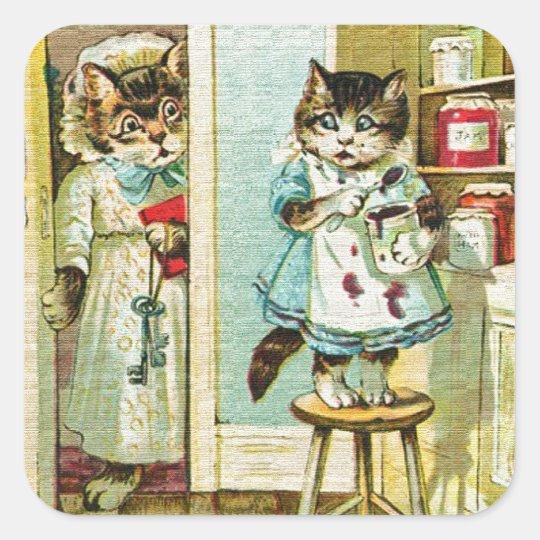 Vintage art: Kitten caught stealing Square Sticker