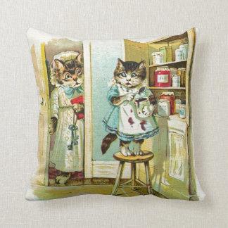 Vintage art: Kitten caught stealing Throw Pillow