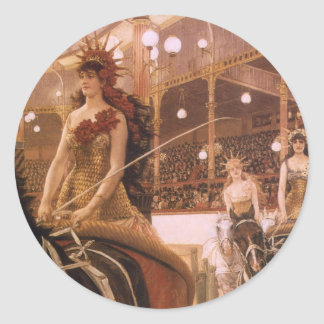Vintage Art, Ladies of the Cars (Circus) by Tissot Classic Round Sticker
