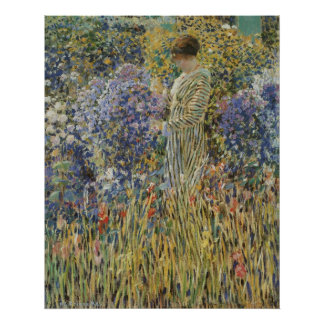 Vintage Art, Lady in Garden by Frederick Frieseke Poster