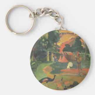 Vintage Art, Landscape Peacocks by Paul Gauguin Basic Round Button Keychain