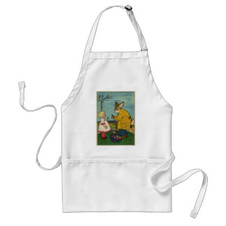 Vintage Art - Little Girl with The Easter Bunny Adult Apron
