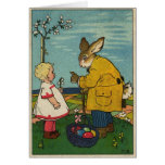 Vintage Art - Little Girl with The Easter Bunny Greeting Cards