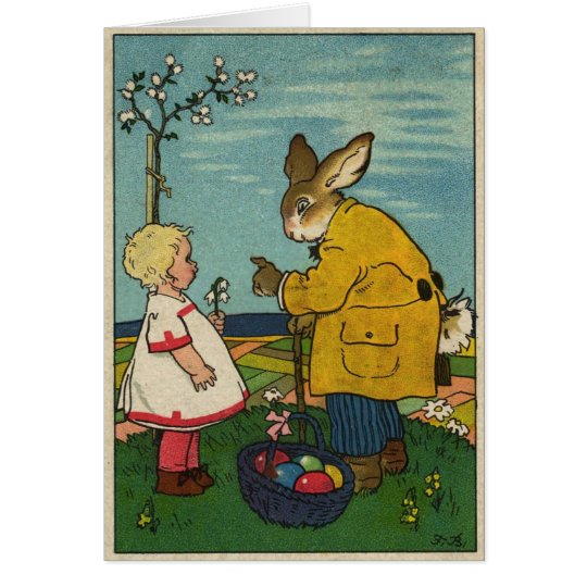 Vintage Art - Little Girl with The Easter Bunny Card