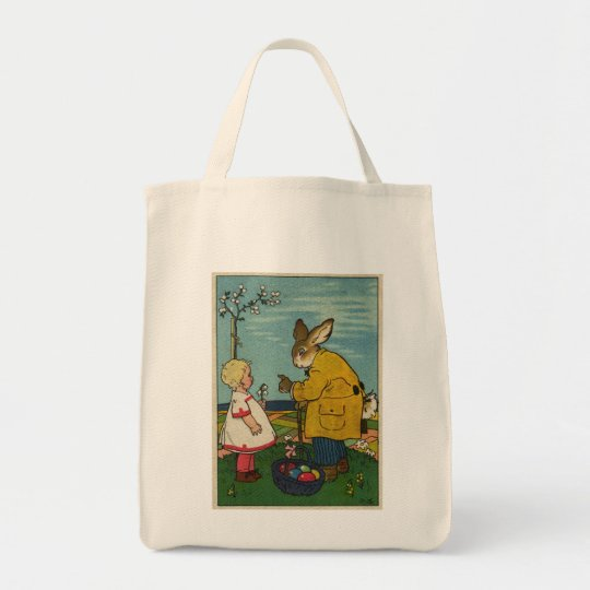 Vintage Art - Little Girl with The Easter Bunny Tote Bag