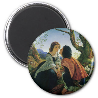 Vintage Art, Lovers at Dusk, Sir Joseph Noel Paton 2 Inch Round Magnet