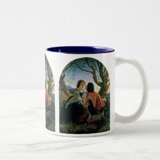 Vintage Art, Lovers at Dusk, Sir Joseph Noel Paton Two-Tone Coffee Mug