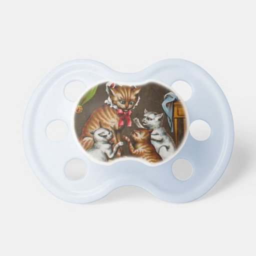 Vintage Art: Mamma Cat with Kittens Baby Pacifier
