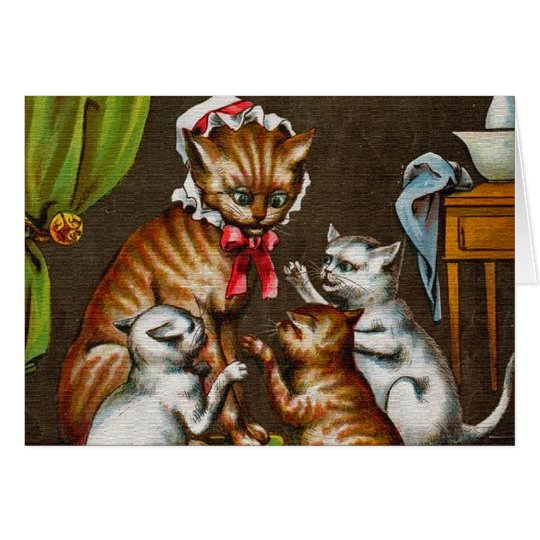Vintage Art: Mamma Cat with Kittens Card