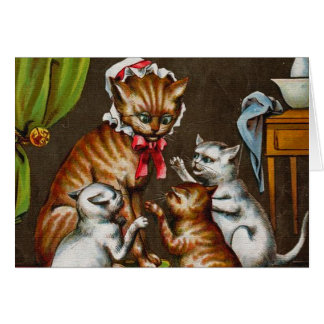 Vintage Art: Mamma Cat with Kittens Cards