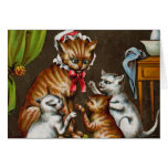 Vintage Art: Mamma Cat with Kittens Greeting Card