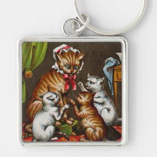 Vintage Art: Mamma Cat with Kittens Keychain