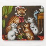 Vintage Art: Mamma Cat with Kittens Mouse Pad