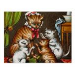 Vintage Art: Mamma Cat with Kittens Postcard