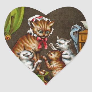 Vintage Art Mamma Cat with Kittens Stickers