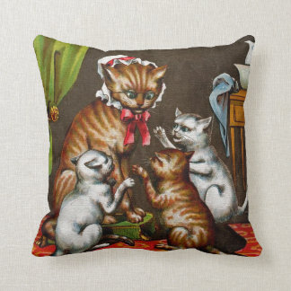 Vintage Art: Mamma Cat with Kittens Throw Pillow