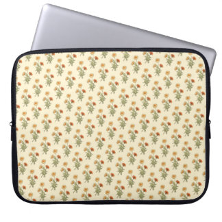 Vintage Art Marigolds Floral Repeat Pattern Computer Sleeve