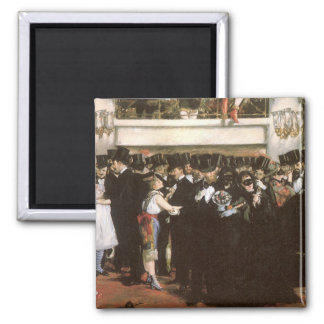 Vintage Art, Masked Ball at the Opera by Manet 2 Inch Square Magnet