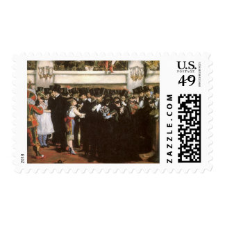 Vintage Art, Masked Ball at the Opera by Manet Postage Stamp