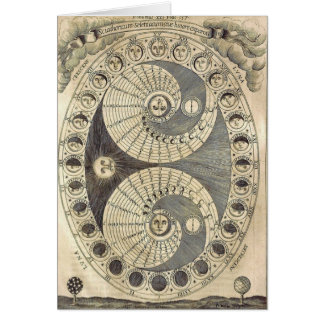 Vintage Art Moonchart - phases of moon Greeting Card