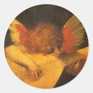 Vintage Art, Musician Angel by Rosso Fiorentino Classic Round Sticker