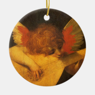 Vintage Art, Musician Angel by Rosso Fiorentino Double-Sided Ceramic Round Christmas Ornament
