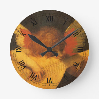 Vintage Art, Musician Angel by Rosso Fiorentino Round Clock