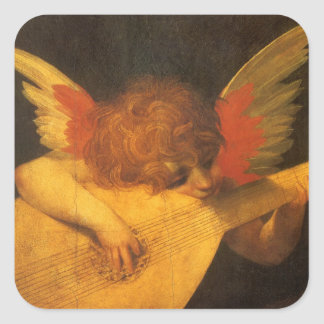 Vintage Art, Musician Angel by Rosso Fiorentino Square Sticker