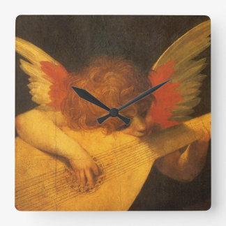 Vintage Art, Musician Angel by Rosso Fiorentino Square Wall Clock
