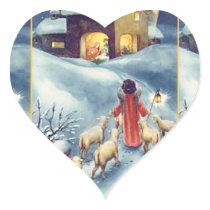Vintage Art Nativity Heart Sticker