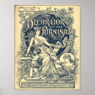 Vintage Art Nouveau 1893 Magazine Cover Poster