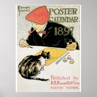 Vintage art nouveau 1897 poster calendar