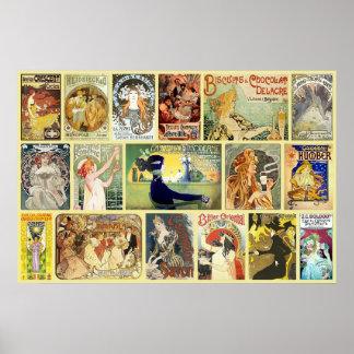 Vintage Art Nouveau Advertisements Poster
