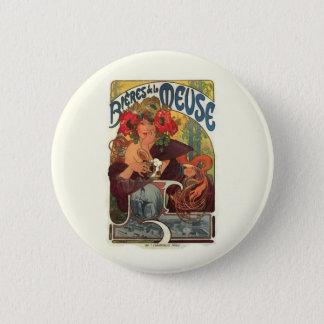 Vintage Art Nouveau Alphonse Mucha Button