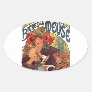 Vintage Art Nouveau Alphonse Mucha Oval Sticker