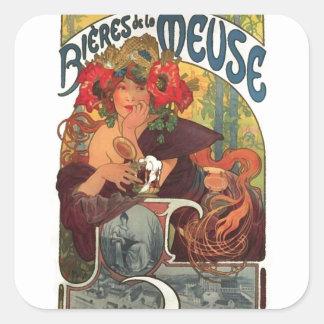 Vintage Art Nouveau Alphonse Mucha Square Sticker