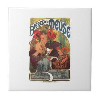 Vintage Art Nouveau Alphonse Mucha Tile