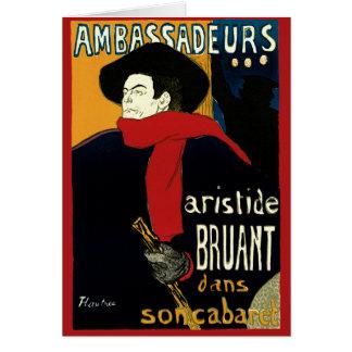 Vintage Art Nouveau Aristide Bruant Ambassadeurs Greeting Card
